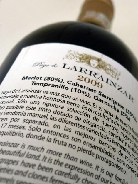 Contra-etiqueta de Pago de Larrainzar Reserva Especial 2009.