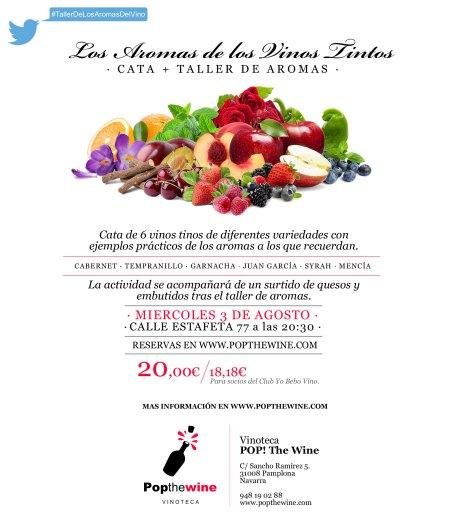 Cartel del Taller de Aromas de los Vinos tintos.