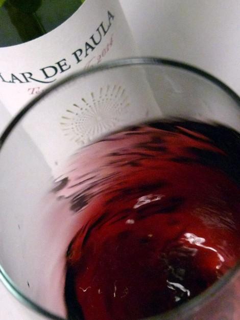 Oxigenando, en la copa, el vino Lar de Paula Madurado en Bodega.