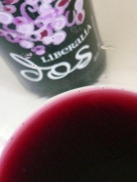 El color del vino Liberalia Dos en la copa.