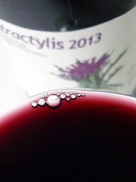Detalle del vino Atractylis 2013 en la copa mostrando su color.