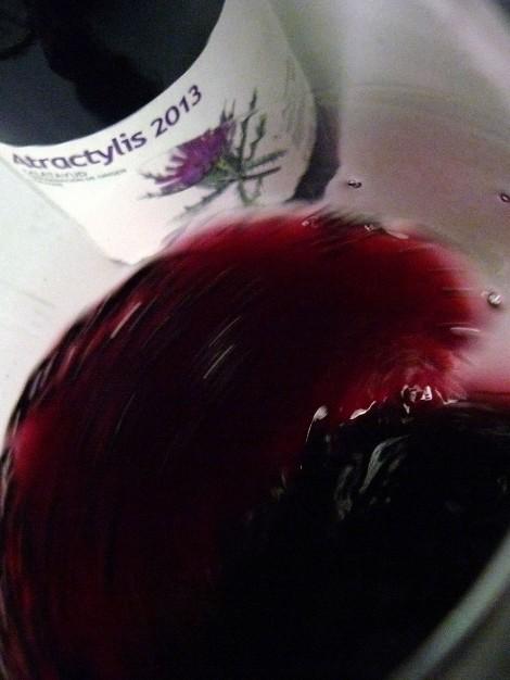 Haciendo girar al vino Atractylis en la copa para que se desprendan todos sus aromas.