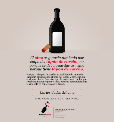 ¿Por qué se guarda el vino tumbado?.