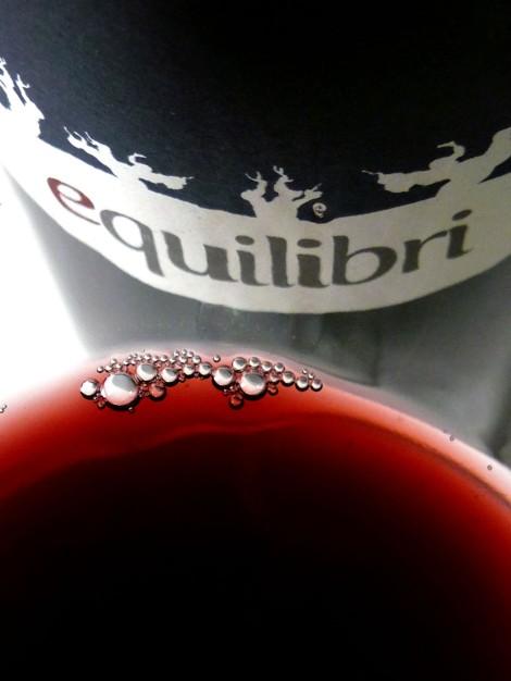 El color del vino Equilibri en la copa.