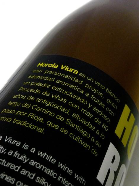Detalle de la contra-etiqueta del vino Horola Viura.