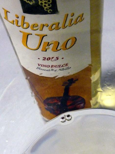 Detalle del ribete cristalino del vino Liberalia Uno.