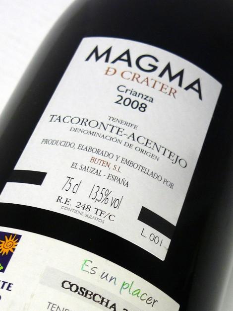 Contra-etiqueta del vino Magma de Crater.