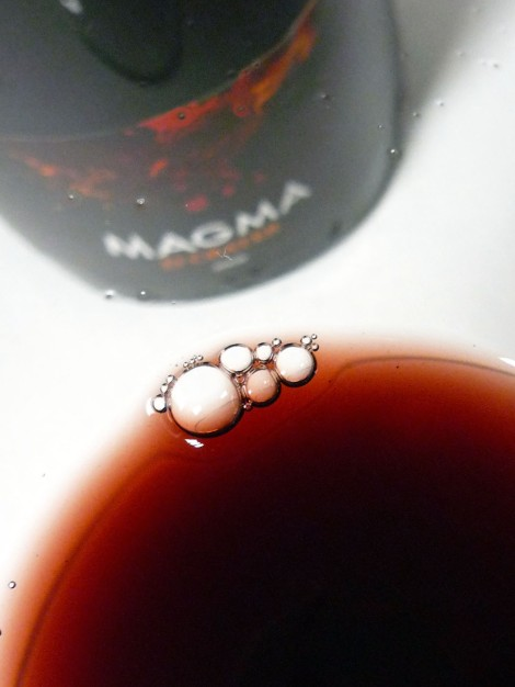 El color del vino Magma 2008 en la copa.
