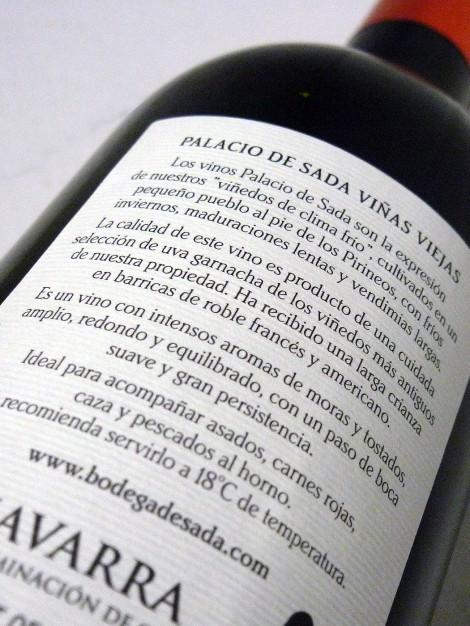 Contra-etiqueta del vino Palacio de Sada Garnacha Crianza 2011.