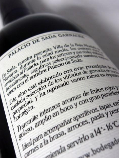 Contra-etiqueta del vino Palacio de Sada Garnacha 2014.