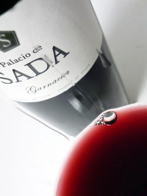 El color del vino Palacio de Sada Garnacha 2014 servido en la copa.