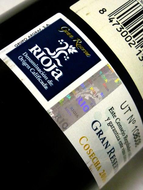 Sello de la D.O.Ca. Rioja Gran Reserva.