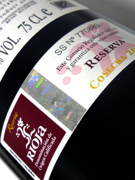 Sello de la D.O.Ca. Rioja Reserva.