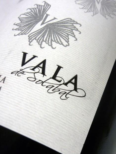 Detalle del etiquetado del vino Vala de Solabal.