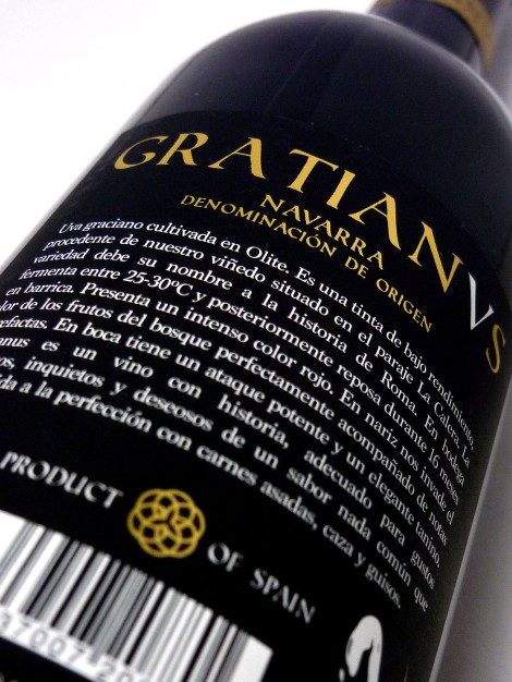 Contraetiqueta del vino Gratianus.