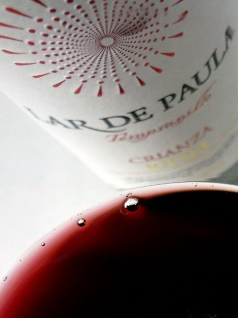 Detalle del vino Lar de Paula Crianza en la copa.