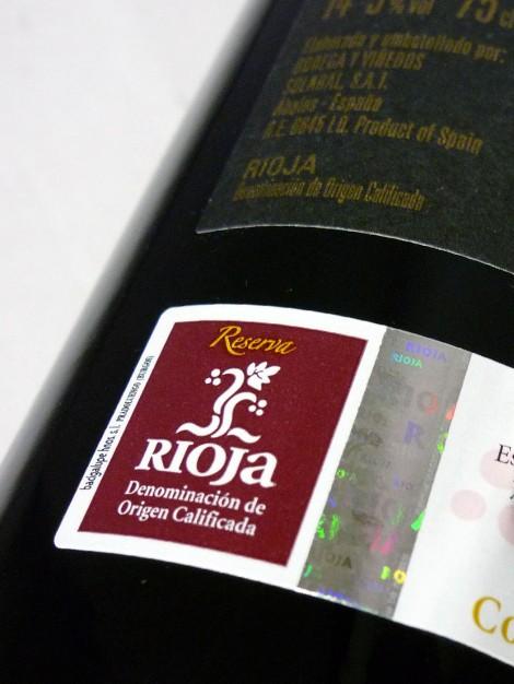 Sello de la D.O.Ca. Rioja en la botella de Solabal Reserva.