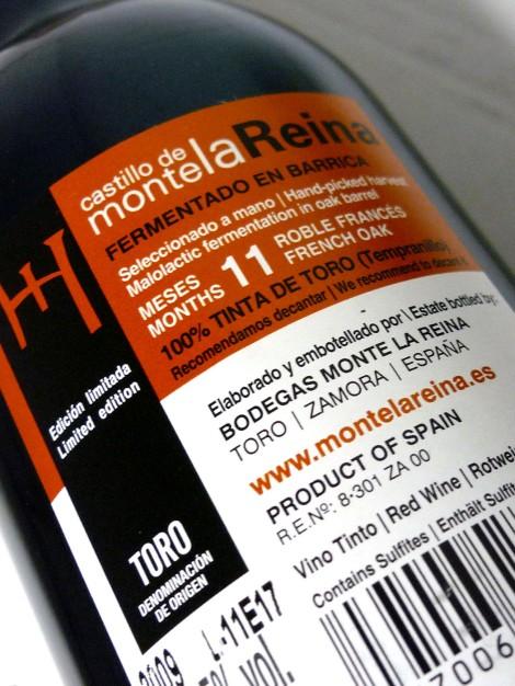 Contra-etiqueta del vino Castillo de Monte la Reina Edición Limitada.