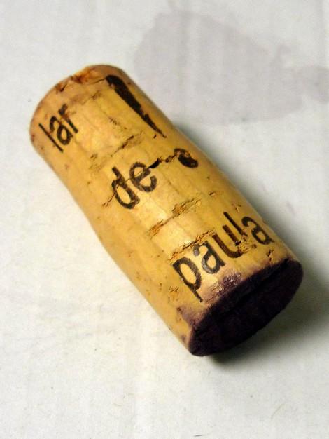 Tapón de corcho del vino Lar de Paula Reserva.