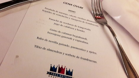 El menú de la Cena del Ovum en el Restaurante Tres Reinas.