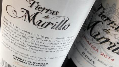 Detalle de la contra etiqueta del vino Tierras de Murillo Crianza.