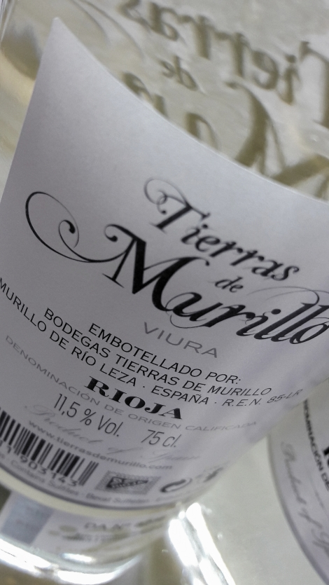 Contra etiqueta del vino Tierras de Murillo Viura.