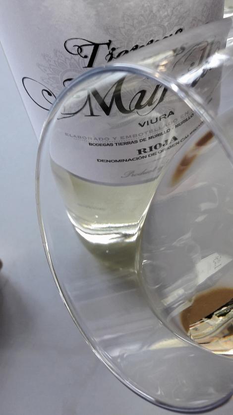 Detalle del ribete del vino Tierras de Murillo Viura.