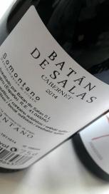 Contra etiqueta del vino Batán de Salas Cabernet.