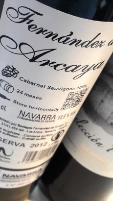 Contra etiqueta del vino Fernández de Arcaya Selección Privada