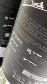 Contra etiqueta del vino Basilio Berisa Graciano.