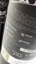 Contra etiqueta del vino Basilio Berisa Vendimia Seleccionada