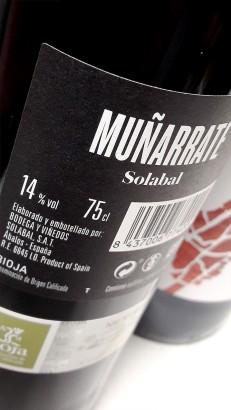Contra etiqueta del vino Muñarrate Tinto 2017.