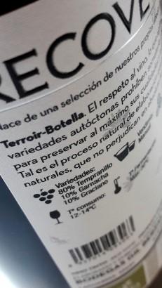 Contra etiqueta del vino Recoveco Vendimia Seleccionada 2012.