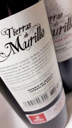 Contra etiqueta del vino Tierras de Murillo Crianza.
