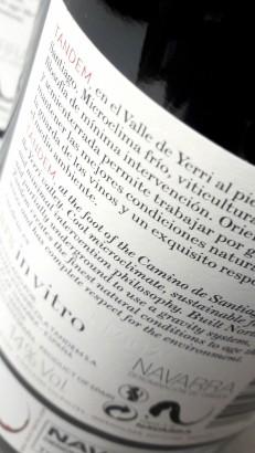 Contra etiqueta del vino Ars In Vitro.