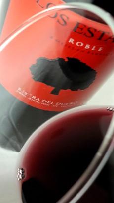 Detalle del ribete del vino Los Estares Roble 2015.